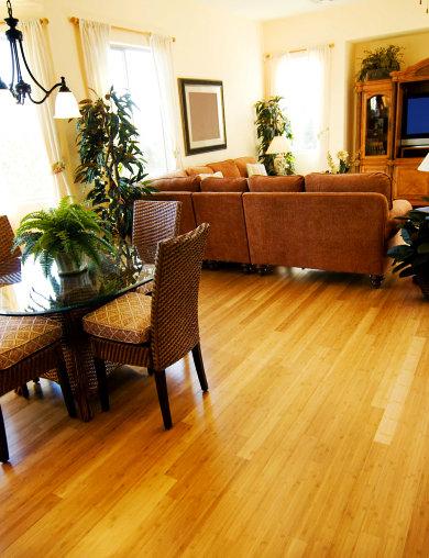 living room with brown wood flooring